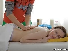 Unshaved teen pussy massaged