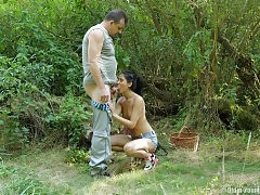 An afternoon adventure for the cute, tight-bodied teen is interrupted by the old man that comes upon her in the woods. Hes charming, shes horny, and soon enough her lips are wrapped around his thick cock. Hes three times her age, but he can keep