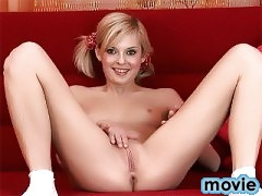 We said welcome back to Gwen this week and how could we not. With her perky little titties and beautiful pussy we can never get enough of this adorable barely legal blonde. And when she fucks herself with that big red vibrator it is just fucking hot!