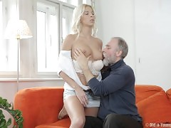 Hes a dirty old man with a wild desire for this gorgeous blonde girl and shes eager to be explored by him. He licks at her clit with his dusty tongue and pulls out his cock for her to suck on like a good girl. Her shaved hole proves a tight and wet