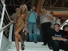 Stunning blonde walking naked